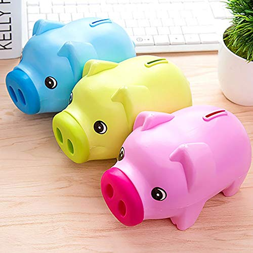 (GailMontan Cartoon Piggy Bank Plastic Paper Coin Creative Cute Children Couple Gift(Blue))