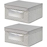 InterDesign Axis Toy or Clothing Fabric Storage Box with Handle and Medium Wardrobe Organisers Made of Polypropylene, Taupe and Natural, Set of 2