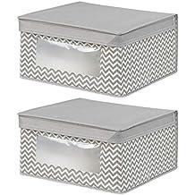InterDesign Axis Cajas organizadoras con tapa, cajas de almacenaje medianas de polipropileno con ventana, juego de 2 cajas de tela, gris topo y crudo