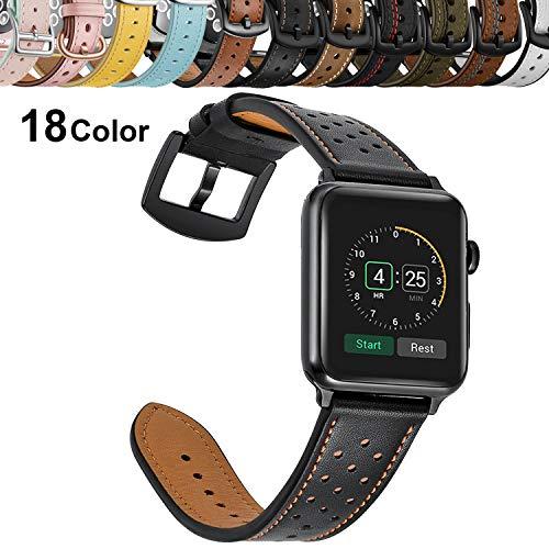 Chok Idea Leder Strap Compatible with Apple Watch Armband 42mm 44mm,Echtleder Ersatz Armband Mit Secure Metal Schnalle Replacement for iWatch Apple Watch Series 4 3/2/1,Casual Black -