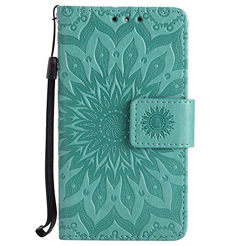 Huawei Y3 / Y360 / Y336 Hülle, Chreey [Prägung Indische Sonne] Lederhülle Sonnen Blume Brieftasche Wallet Tasche Magnet Flip Case Handyhülle Etui mit Kartenfach Ständer [Grün]