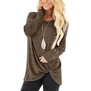 YOINS Damen Langarm T-Shirt Pulli Rundhals Ausschnitt Hemd Sweatshirt mit  Streifen Lose Asymmetrisch Jumper bb2043b0a9