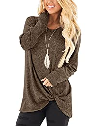 a5e484c16b7 YOINS Women's Plain Round Neck Long Sleeve Loose Fit T-Shirts with Crossed  Front Design