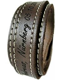 AREA17® Gravur Lederarmband mit Steppung 2,5 cm braun, WUNSCHTEXT INKLUSIVE