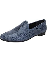 Bareskin Special Men Handmade Blue Leather Slip-on With Snake Print