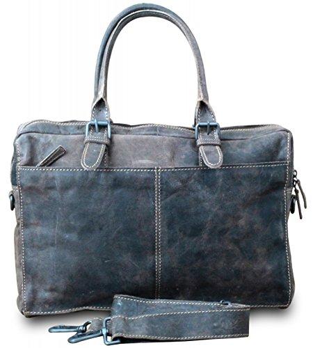 HUNT épaule messenger sac à main cross body bag sacoche haute cuir de buffle style vintage couleur - : marron foncé