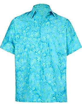 *La Leela* Palma Tasto Hawaiano degli Uomini del Cotone Giù Aloha Camicia Turchese