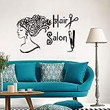 Friseur Dekorative Vinyl Wandtattoo Friseursalon Beauty Shop Kunst Aufkleber Friseur Vinyl Aufkleber Wohnzimmer Wandbild 56x89 cm