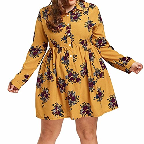 DRESS_start Kleid Lang Damen Long Sleeve Casual Boho Blumendruck Minikleid Knopf Prinzessin Kleid MäDchen Esprit Kleid MäDchen Elegant Sexy Skelett Kleid XL-5XL Gelb (XL) (Prinzessin Skelett)