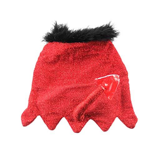 Polyester Kostüm Rotes Cape - POPETPOP Katze Mantel Kleiner Teufel Schwanz Design Katze Halloween kostüme weichem Polyester pet Cape Cosplay Bekleidung für welpen kleine Haustiere (rot m)