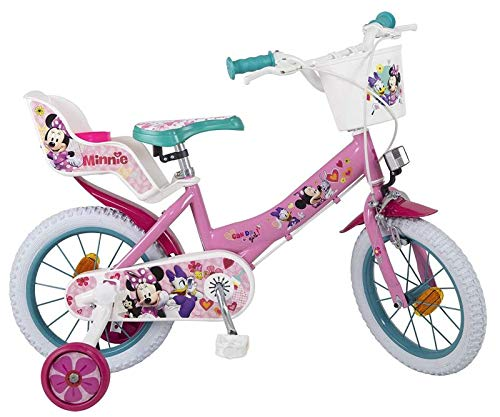 Kinderfahrrad Disney Minnie Mouse 16 Zoll mit Puppensitz und Korb - Fahrräder Für Mädchen Zoll 16