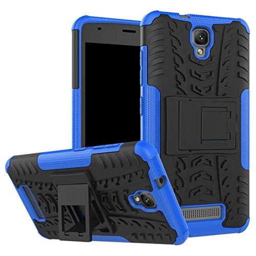 Wrcibo ZTE Blade L5 (L5 Plus) Hülle, Wrcibo Hybrid 2 in 1 TPU und PC Schutzhülle Cover Case Armor Handytasche Backcover Stoßfest Handy Hülle Tasche Schutz Etui mit Ständer für ZTE Blade L5 (L5 Plus) [Blau]