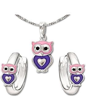 CLEVER SCHMUCK-SET Silberner Anhänger kleine Eule 11 mm mit Herz rosa violett und passenden kleinen Creolen sowie...