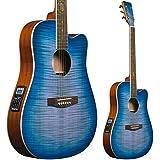 Lindo BTC Bitcoin Slim Body Electro - Guitarra acústica con preamplificador F-4T, ecualizador y bolsa para guitarra