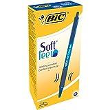 BIC Druckkugelschreiber Soft Feel Clic Grip | 12 Kugelschreiber in Blau | Strichstärke 0,4 mm | Dokumentenecht