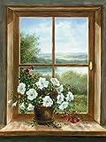 Artland Poster Kunstdruck aufgezogen auf Holz-Platte Wand-Bild A. Heins Blumen am Fenster Landschaften Fensterblick Malerei Braun 39 x 29 x 1,2 cm A1OG
