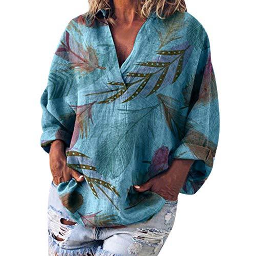 DOFENG Damen T Shirt Bluse Sweatshirt Damen Lange Ärmel Mode Locker Blätter Drucken Lässig V Neck Pullover Oberteil Tops (Blau, Medium)