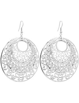 2LIVEfor Statement Ohrringe lang hängend Silber Gold Ohrringe Ethno in Tropfenform verziert Ohrringe Bohemian...