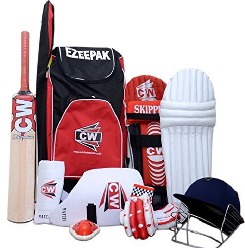 CW Senior Batting Cricket-Set rot ideal für 13 + Jahre Kind (ezeepak Kit + Kaschmir Willow Fledermaus, Full Size + beinschützers + Batting Handschuhe + Leder Cricket Ball + Cricket-Helm + Oberschenkel, & Arm Guard + Bauch) (Armee Cricket)