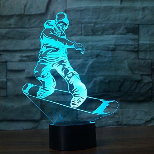 Jinson well 3D snowboarden Lampe optische Illusion Nachtlicht, 7 Farbwechsel Touch Switch Tisch Schreibtisch Dekoration Lampen perfekte Weihnachtsgeschenk mit Acryl Flat ABS Base USB Kabel kreatives Spielzeug