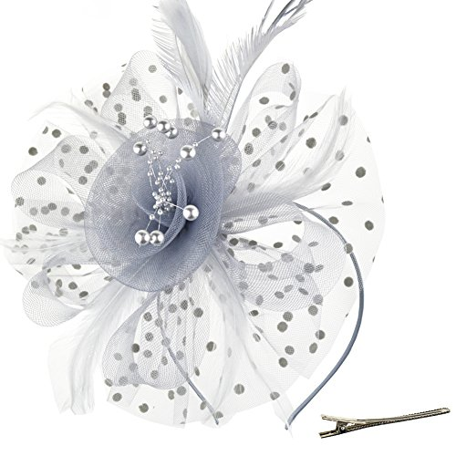 Hut Blume Mesh Bänder Federn auf einem Stirnband und einem geteilten Clip Cocktail Tea Party Headwear für Mädchen und Frauen,Grey,Einheitsgröße ()