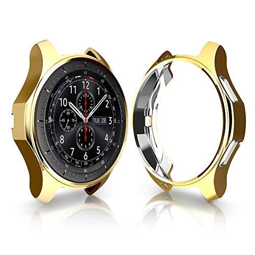 KTcos Coque pour Samsung Gear S3 Frontier SM-R760, Soft TPU Plaqué [Anti-Rayures] Autocollant De Protection pour Samsung Gear S3 Frontier SM-R760 Smartwatch (Or)