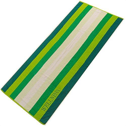 aqua-textil Wellness Saunatuch Doppelpack 80x200 Streifen grün Baumwolle Frottee Sauna Handtuch Strandtuch 2000176 (Streifen-badelaken)