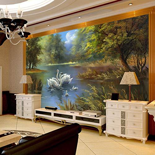 Benutzerdefinierte 3D Wandbild Tapete Rolle Romantische Schwan Wohnzimmer Schlafzimmer TV Hintergrund Home Decor Vliestapete Wandmalerei 03,250 cm X 175 cm (98,4 by 68,9 in) - 3250-tv