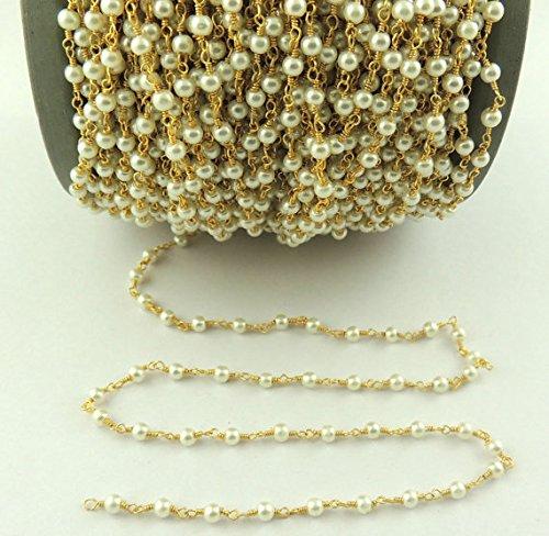 50Füße Glas Synthetik PEARL Rosenkranz Stil Perlen Kette-Bulk Großhandel Glas Perlen Draht verpackt 24K vergoldete Kette