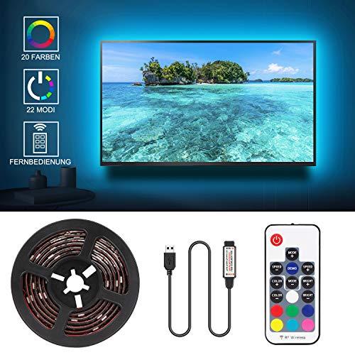 Jayol Led TV Hintergrundbeleuchtung, 2M USB LED Fernseher Beleuchtung für 40 bis 60 Zoll HDTV,TV-Bildschirm und PC-Monitor, Led Strip mit 24keys Remote