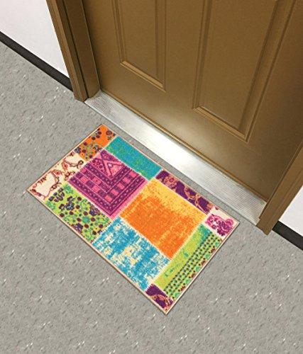 Kapaqua Rückseite gummiert Multicolor Grau Patchwork Design Teppiche und Läufer-Rana Collection Küche ESS-Living Badezimmer Pet Eintrag Teppiche, Synthetisch, Mehrfarbig, 18