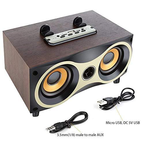 GJ&KD Desktop tragbare hölzerne drahtlose Lautsprecher Subwoofer Stero Bluetooth-Lautsprecher unterstützen TF MP3-Player mit, schwarz -