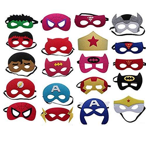 BJ-SHOP Superhelden Masken,Superhero Cosplay Party Masken Halbmasken Halbe Augenmasken für Kinder Party Taschen Füllstoffe