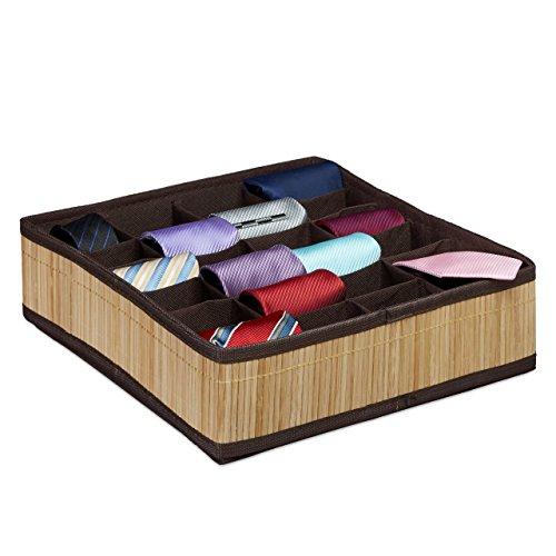 Relaxdays Krawattenbox, Bambus Look, faltbar, für Socken, Unterwäsche, 24 Zellen, Schubladenorganizer, natur