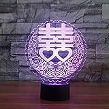 3D Nachtlichter 7 Farbe Usb Led 3D Visuelle Doppel Glück Tischlampe Nachtlicht Schlafzimmer Schlaf Beleuchtung Chinesische Hochzeit Hause Lamparas Decor Geschenk
