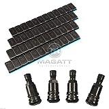 8 KLEBEGEWICHTE Riegel Kleberiegel 12x5g + 4 Metallventile Stahlventile Schwarz