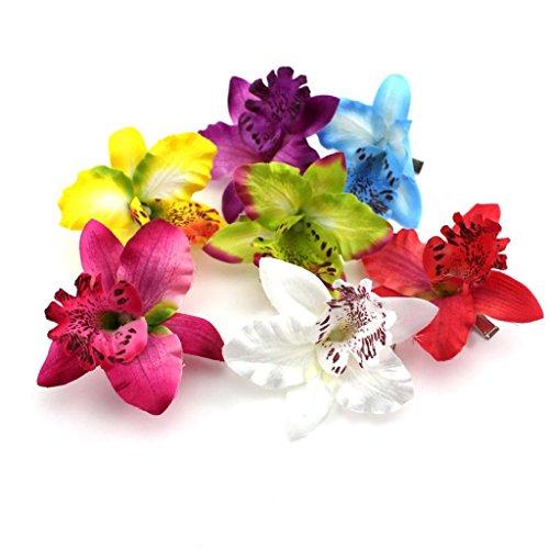 HuntGold-3X-flor-Tela-Dendrobium-Orqudea-pelo-Clip-Broche-Barretteamarillo-azul-prpura