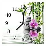 DekoGlas Glasuhr 'Steine Orchidee Mehrfarbig' Uhr aus Acrylglas, eckig große Motiv Wanduhr 30x30 cm, lautlos für Wohnzimmer & Küche