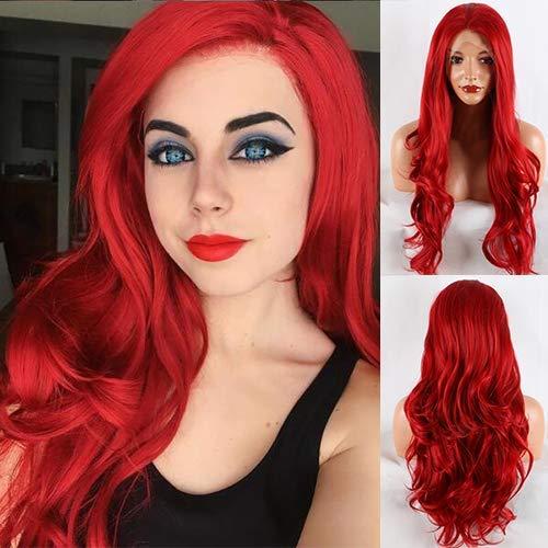 Perücke mit roter Spitze vorne, lang, kupferrot, gewellt, mit Haaransatz, Synthetik-Spitze, 61 cm, Rot