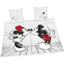 Herding Mickey & Minnie Partnerpack Juego de Cama, Algodón, Weiß, 135 x 200 x cm, 2 Unidades