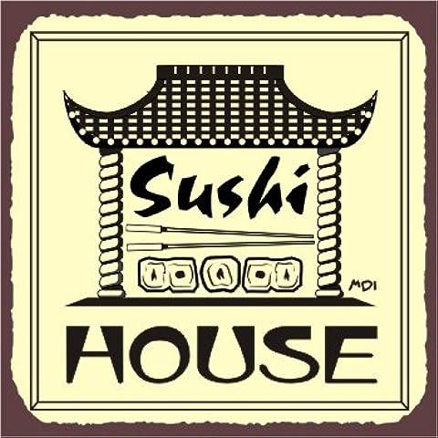 Sushi House latta 30,5x 30,5cm segni in metallo quadrato in