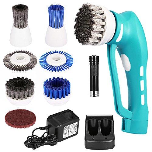 CookJoy Elektrische Reinigungsbürste Set, Wiederaufladbarer Handheld-Schrubber mit 7 Bürstenköpfen, Perfekt für Badezimmer und Küche, Blau