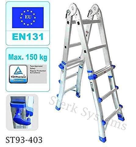 Teleskop Multi Kombination Schritt Leiter System 4x 3Sprossen | Treppen