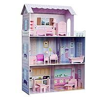 Teamson Kids - Fancy Mansion Kids Large Wooden Dollshouse Dolls House with 13 pcs Furniture fits Barbie Dolls
