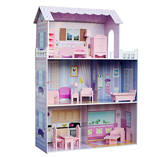 Teamson Kids - Fancy Mansion Kids Large Wooden Dollshouse Dolls House with 13 pcs Furniture fits Barbie Dolls