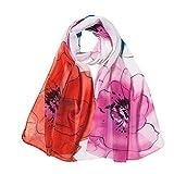 Xmiral Damen Schal Mode Blumendrucken lange weiche Wrap Elegante glamouröse Schal Schal Schals(Orange)