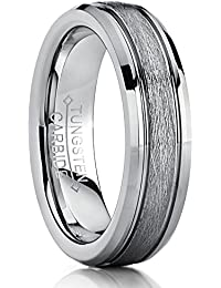 333c60ce694d Ultimate Metals Co. Tungsten Carbide Men s Women s Textured Brushed Center  Wedding Band Ring