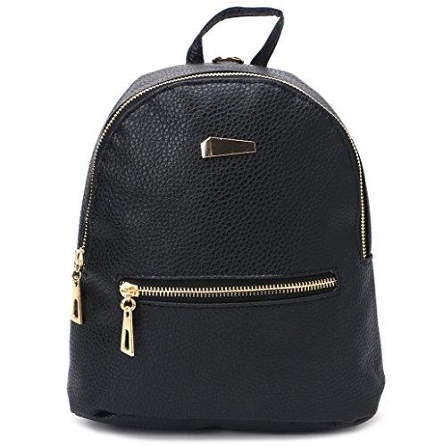 Dairyshop Zaino di cuoio delle donne di modo Sacchetto di spalla dello zaino della borsa della borsa di viaggio zaino donna (Grigio) Nero