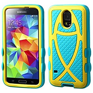 MyBat Rubberized Fish Hybrid Protector Cover for Samsung Galaxy S5 - Retail Packaging - Yellow/Tropical Teal