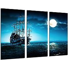 Cuadro Moderno Fotografico Barco Antiguo de Vela, Carabela, Guerra, Mar Atardecer, 97 x 62 cm, ref. 26445